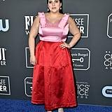 Beanie Feldstein Wearing Valentine's Day Colours at the Critics' Choice Awards