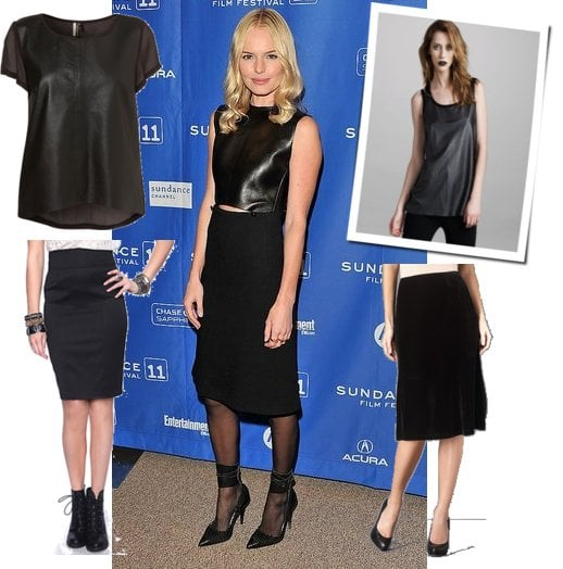Kate Bosworth Wearing Pencil Skirt With Cropped Leather Tank