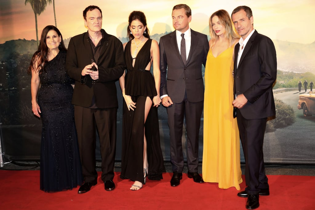Shannon McIntosh, Quentin Tarantino, Daniela Pick, Leonardo DiCaprio, Margot Robbie, and David Heyman at the Once Upon a Time in Hollywood premiere in Rome.