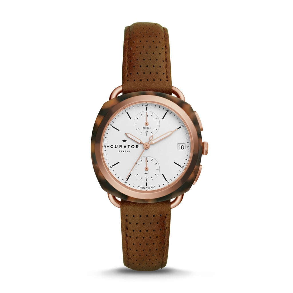 Fossil x Amber Interiors Multifunction Brown Leather Watch