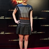 Jennifer Lawrence attended the March premiere of The Hunger Games in a colorblock mini by Victoria Beckham.