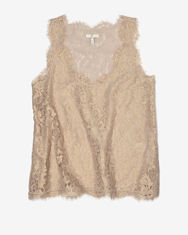 What's better than lace? Shimmery lace, like this Joie Jenina Metallic Lace Tank ($225), perfect for wearing with leather pants and slouched boots for a night filled with friends, fun, and dancing.