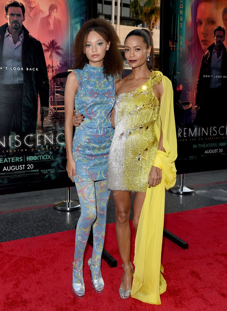 Thandiwe Newton and Nico Parker Twinning in Versace Dresses