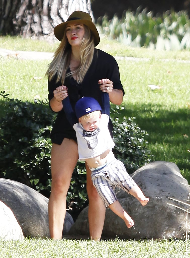 Hilary Duff swung her son, Luca, around in the park.