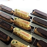You'll spot them along with other tasty eclair options, including chocolate, salted caramel, raspberry, and pistachio.
