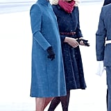 On Thursday, Kate Landed in Norway and Wore a Blue Catherine Walker Coat
