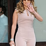 Jennifer Lopez waved outside of her hotel in NYC.