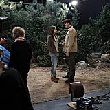 Kunis and Kutcher on the set of Two and a Half Men.