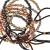 Rose Gold Tone Beaded Bracelet with Nude Leather Cord, Goldtone  Beaded Bracelet with Chocolate Leather Cord, Hematite Beaded Bracelet with Black Leather Cord, or Silvertone Beaded Bracelet with Black Leather Cord: $45 each