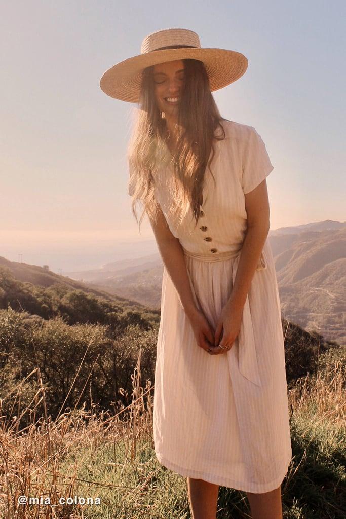 UO Natalie Linen Belted Shirt Dress