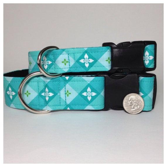 Teal Plaid Dog Collar