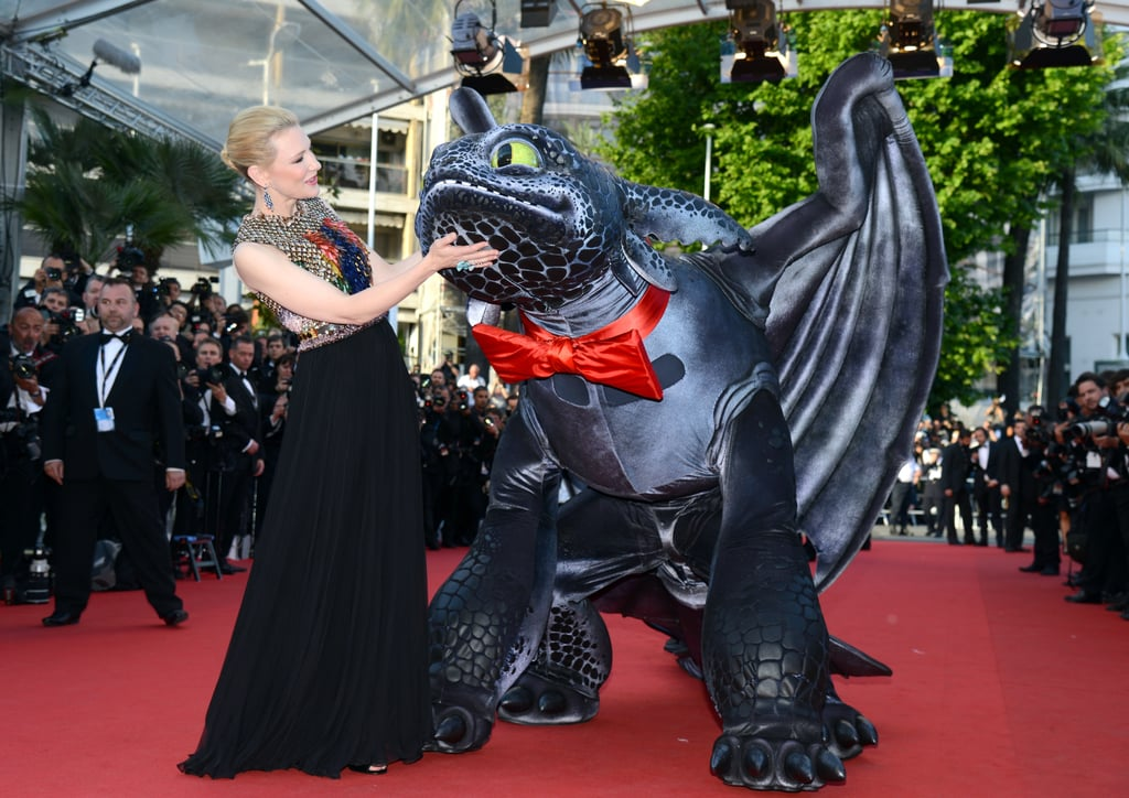 Cate Blanchett got playful during Friday's premiere of How to Train Your Dragon 2.