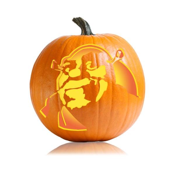 Shrek cartoon character pumpkin carving ideas for kids for Cartoon pumpkin patterns