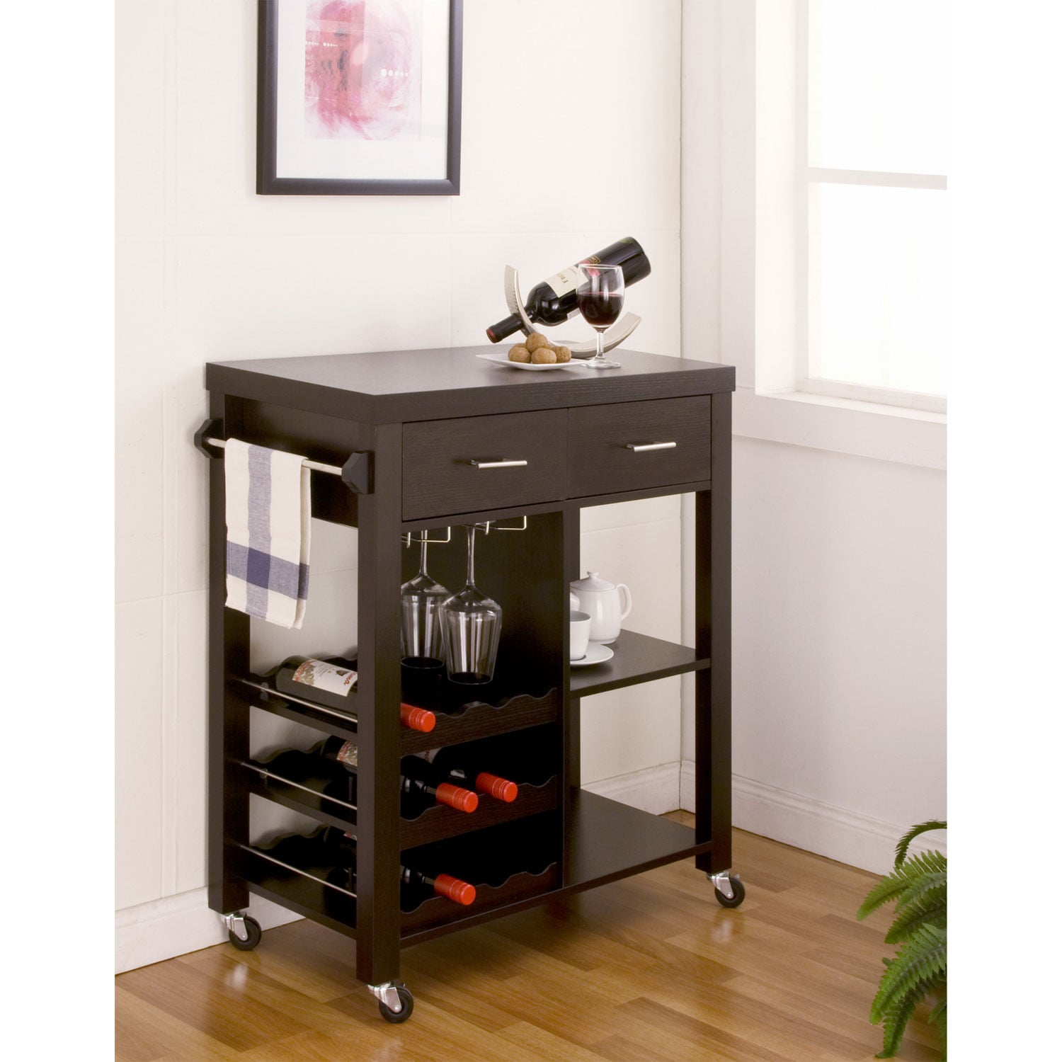 Furniture of America Stewardee Contemporary Mobile Kitchen ...