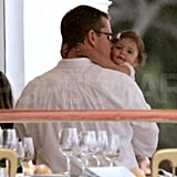 Matt Damon kissed baby Isabella during a cocktail party held at the Eden Roc Hotel during the 2007 Cannes Film Festival.