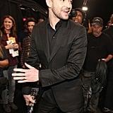 Justin stepped backstage.