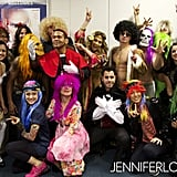 Jennifer Lopez and Casper Smart got into character with the rest of her backup dancers, singers, and touring crew. Source: Twitter user JLo