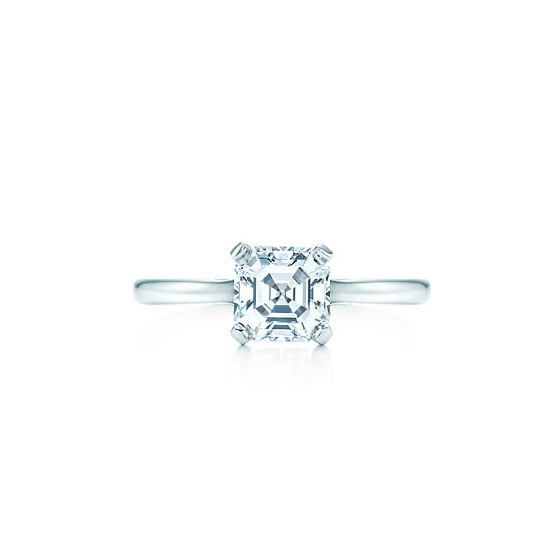 Square step cut diamond ring, from $13,600, Tiffany & Co