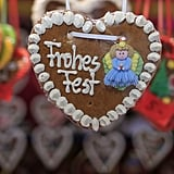 """Cinnamon heart-shaped sweets with """"Happy Holidays"""" written on them were for sale at the Rathaus Christmas Market in Vienna."""