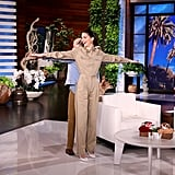 Kendall Jenner Wearing a Navarro Cheer Crop Top on Ellen