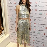 Amal scooped up this metallic set by Lanvin for a Charlotte Tilbury cocktail party; the coordinates date back to 1967.