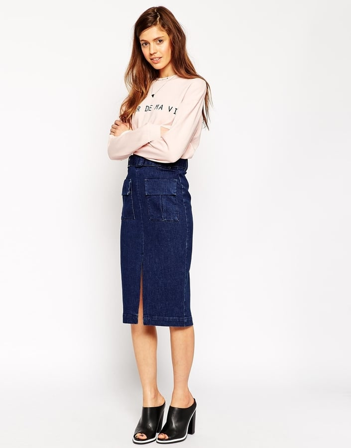 ASOS Denim Midi Skirt