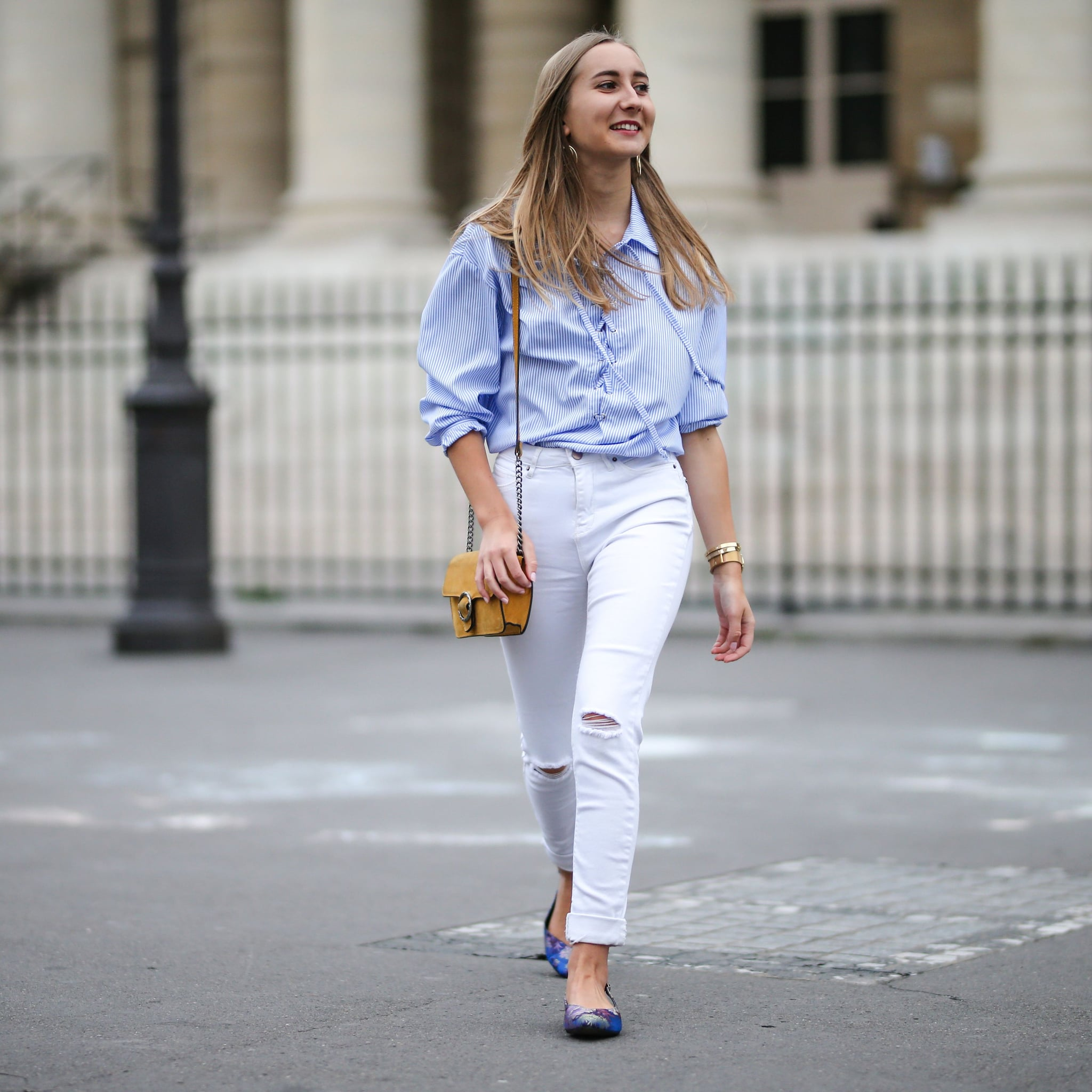 With A Lacy White Shirt And Beige Sandals White Jeans Outfit Ideas Popsugar Fashion Photo 10