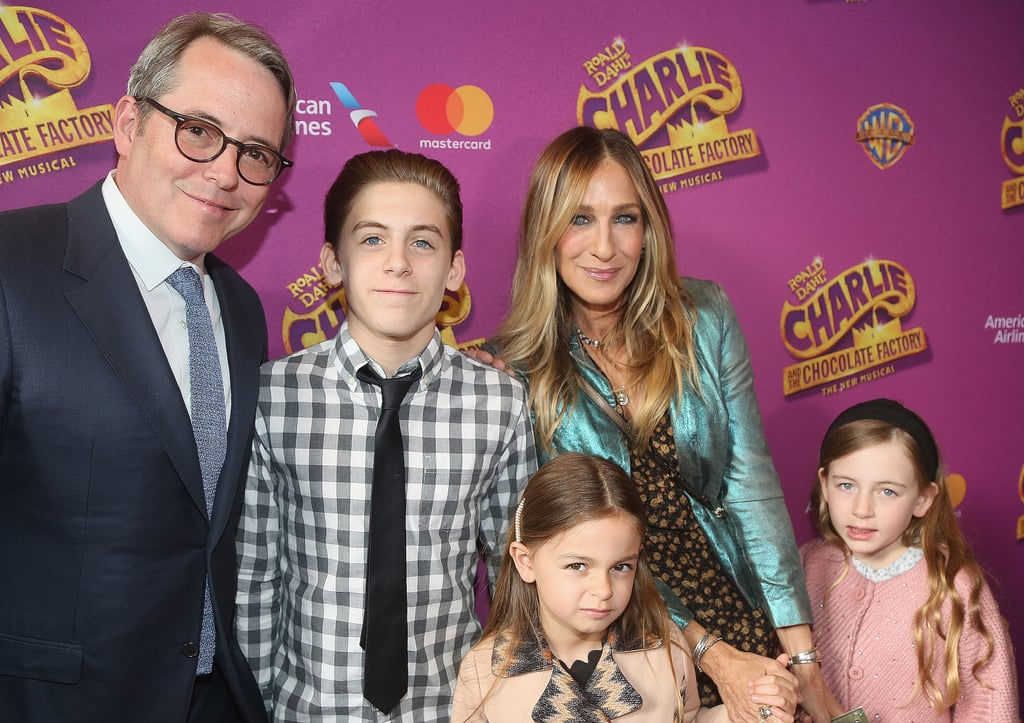 "It was family night for Sarah Jessica Parker and husband Matthew Broderick at the Broadway opening night of Charlie and the Chocolate Factory in NYC on Sunday. The couple hit the red carpet with their three kids, 14-year-old son James Wilkie and 7-year-old twins Tabitha and Loretta. In addition to looking stunning, Sarah shared a cute video of her family on their way to the event on Instagram, writing, ""Yipee! On our way to see 'Charlie and the Chocolate Factory' and the whole family get to go and cheer for our dear @scottwittman and @marc_shaiman."" While we hardly ever get to see Sarah's children in the spotlight, she often shares photos of them on social media."