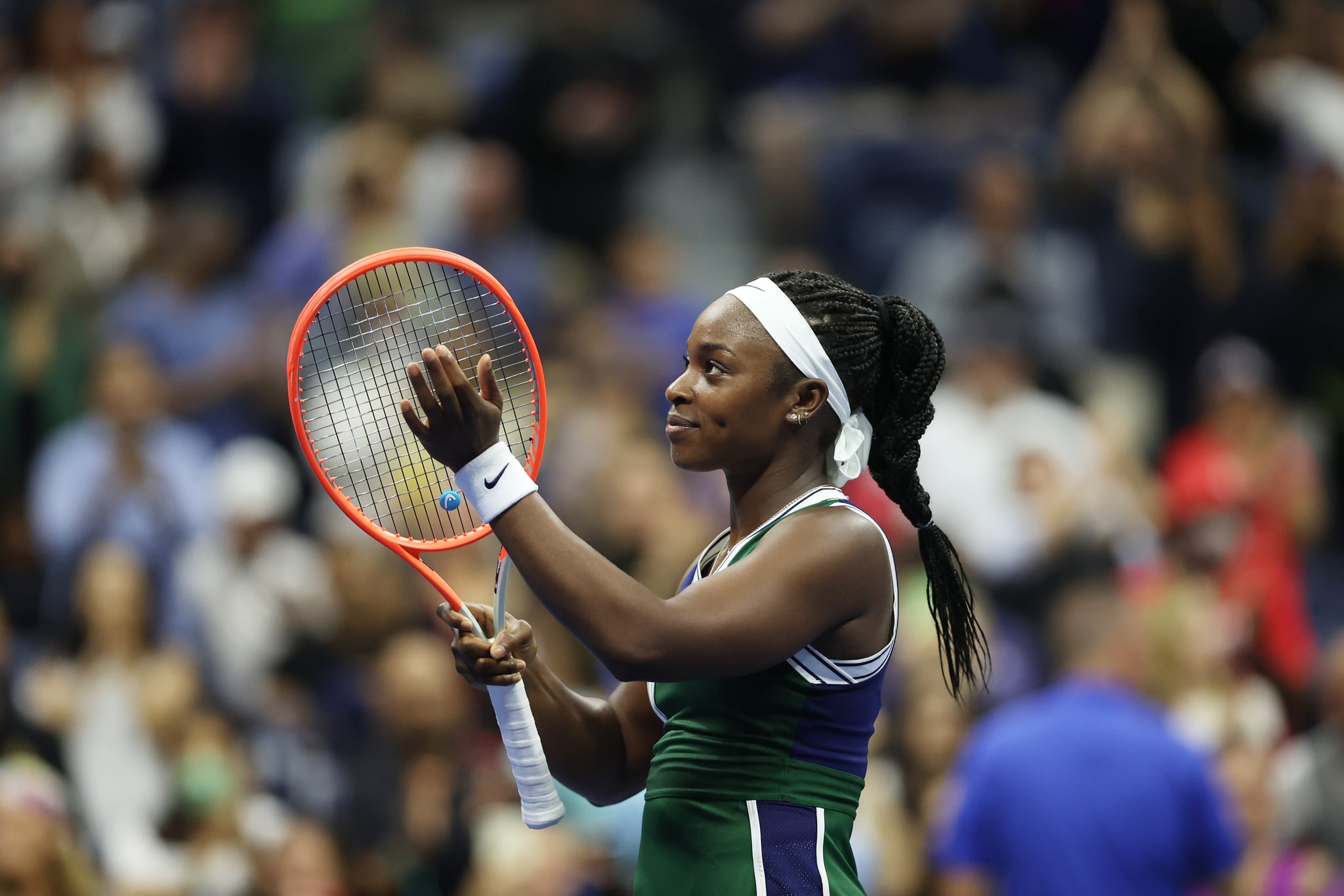 NEW YORK, NEW YORK - SEPTEMBER 01: Sloane Stephens of the United States celebrates after defeating Cori Gauff of the United States during her Women's Singles second round match on Day Three of the 2021 US Open at the Billie Jean King National Tennis Centre on September 01, 2021 in the Flushing neighbourhood of the Queens borough of New York City. (Photo by Matthew Stockman/Getty Images)