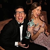 Andy Samberg and his wife, Joanna Newsom, celebrated after the show.