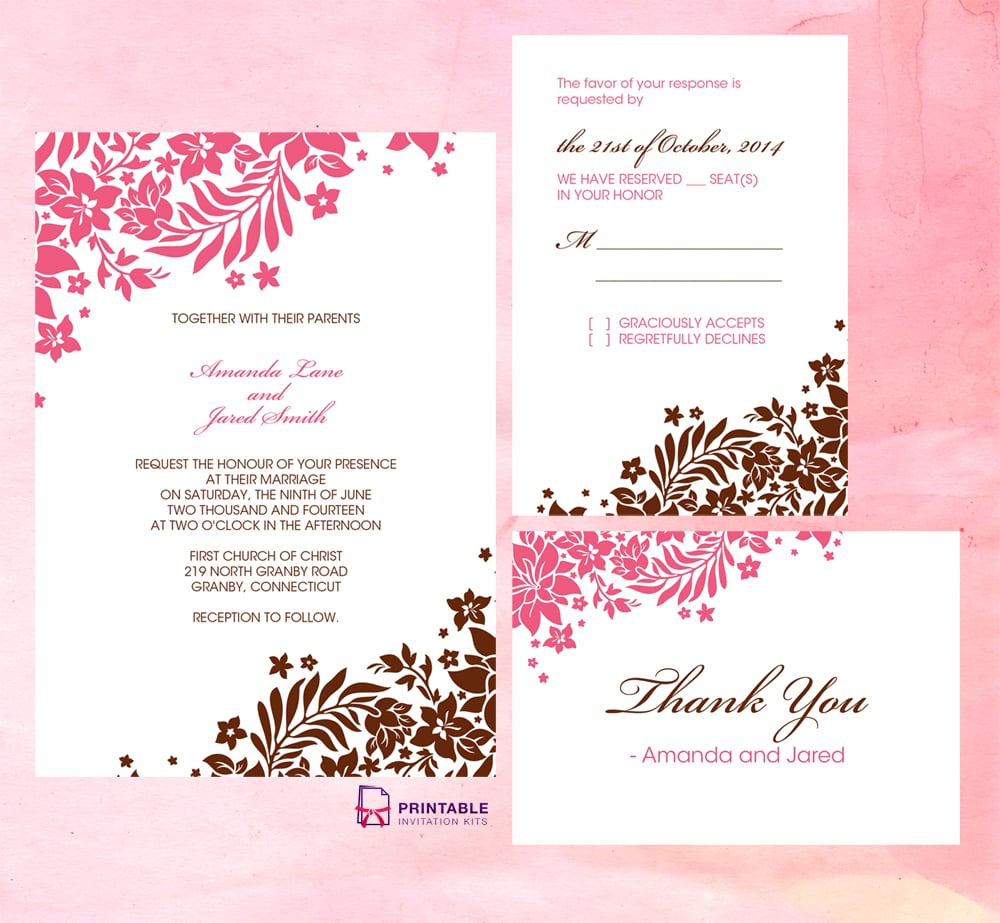 Pink And Brown Foliage Wedding Invitation  Invitation Free Download