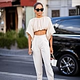 Crop tops and high-waisted pants were made for wearing together.