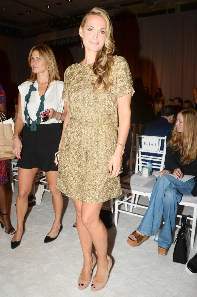 25b6461c3 Molly Sims was a golden girl in an embroidered Marchesa minidress at ...
