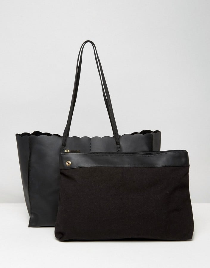 Asos Scallop Leather Shopper Bag With Removable Clutch  db1db8b12ad0f