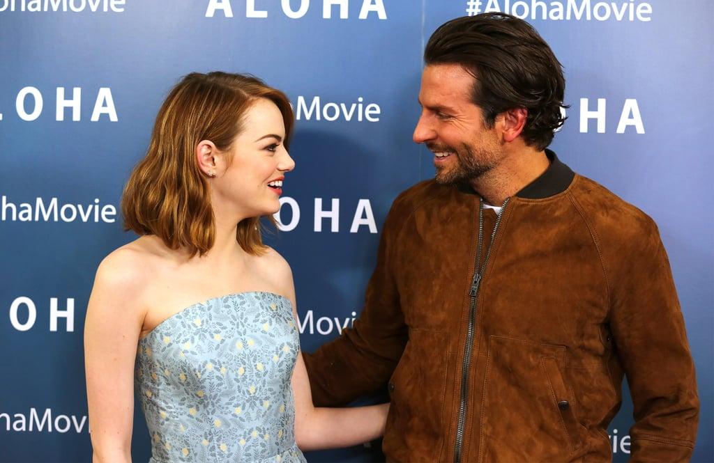 Emma Stone and Bradley Cooper Giggle on Aloha Red Carpet