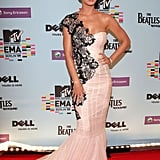 A frothy mermaid tail and one-shoulder black lace overlay turned Perry's 2009 MTV Europe Music Awards into a red carpet ace.