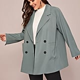 Shein Double Button Striped Cuff Raglan Sleeve Blazer