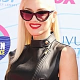 Gwen Stefani wore a black leather vest.