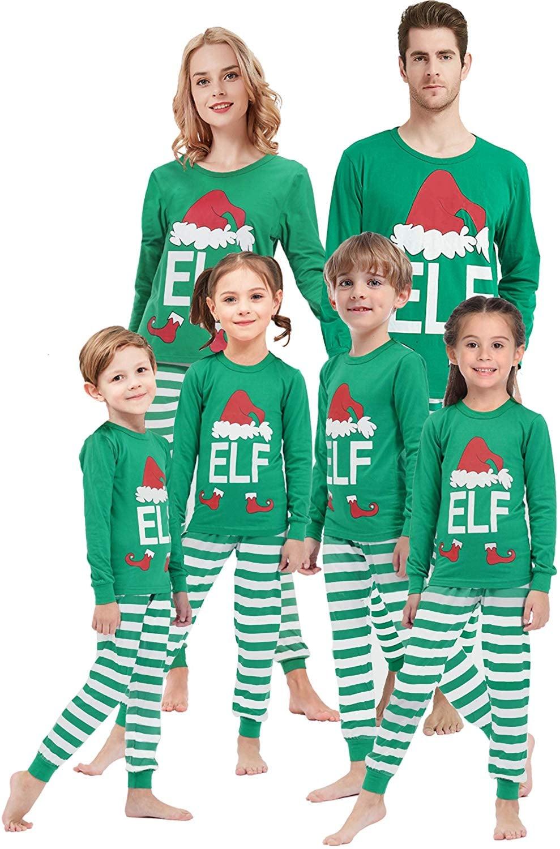 Jamron Family Matching Pyjamas Set Christmas New Year Sleepwear for Women Men Kids Baby
