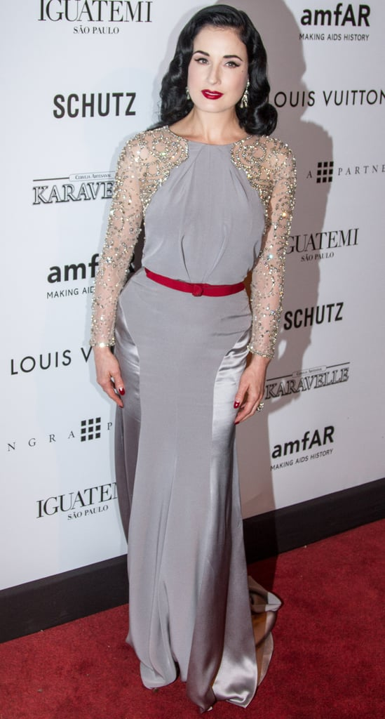 Dita Von Teese wore a gown by Jenny Packham. | Kate Moss at amfAR ...
