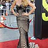 Wearing a Zuhair Murad couture gown and Lorraine Schwartz jewelry to the Los Angeles premiere of Savages in 2012.