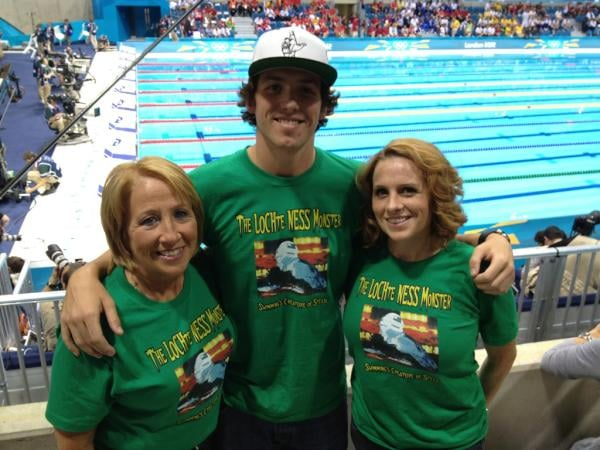 Ryan Lochte's family showed their support in the crowd.  Source: Twitter user eswright