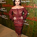 Miroslava Duma was stunning in her berry hues at Ferragamo's Wallis Annenberg Center for the Performing Arts gala.