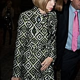Anna Wintour donned a printed dress at the Lanvin show.