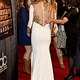 Pregnant Carrie Underwood in White at American Country Show