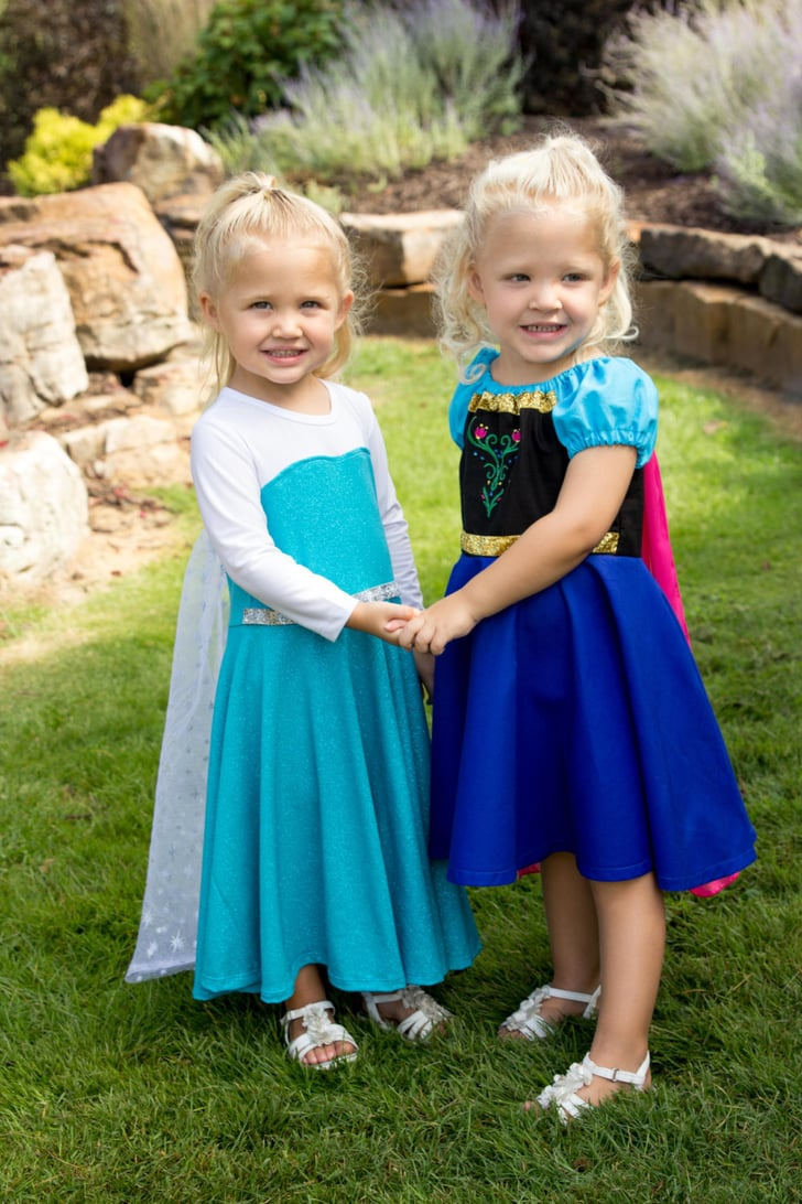 elsa and anna frozen costumes coordinating sibling. Black Bedroom Furniture Sets. Home Design Ideas