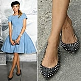 Diane Kruger edged up a chambray-hued Chanel Resort '13 dress and chic beret with spiked Christian Louboutin Pigalle flats.