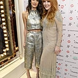 Amal attended Charlotte Tilbury's naughty Christmas party in 2015 wearing a silver jacquard ensemble from Lanvin.