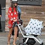 Alessandra Ambrosio took son Noah to the market in LA.