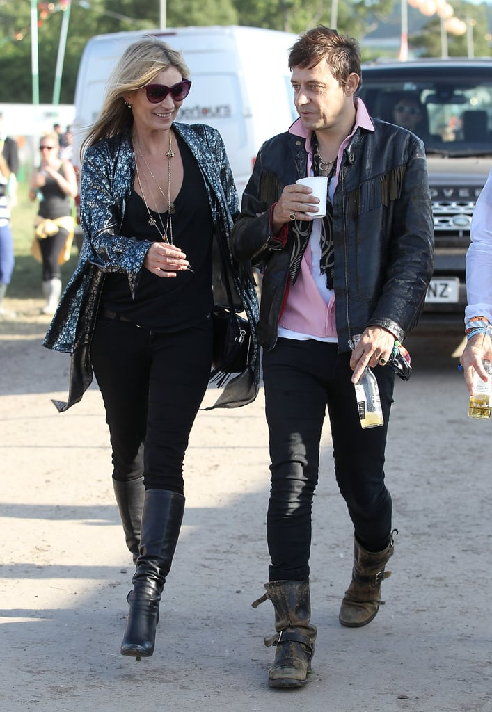 Kate Moss and Jamie Hince chatted at the festival.